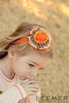 Halloween headband Thanksgiving Pumpkin by SadieBloomDesigns
