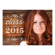 "Rustic Vintage | Photo Graduation Party 5"" X 7"" Invitation Card"