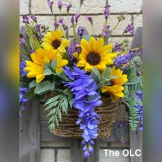 Hanging Flower Arrangements, Sunflower Floral Arrangements, Hanging Flower Baskets, Silk Flower Arrangements, Hanging Plants, Flower Vases, Flower Art, Buddha Painting, Painting Canvas