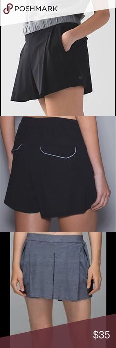 Lululemon Black &go City Skort skirt Size 6 This Lululemon skort is co cute and comfortable! There are side zippered pockets and back pockets that can be hidden as seen in last pic. I love this skort, I just never wear it! I've worn it maybe 3 times. Great for being out and about or a lunch date! lululemon athletica Skirts