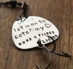 Dad 1st Man to Catch My Heart Fishing Lure $36 http://www.sierrametaldesign.com/collections/fishing-lures/products/dad-1st-man-to-catch-my-heart-fishing-lure-dad-gift-parent-gift-gift-for-parent-hugs-and-fishes-wedding-birthday-fathers-day-gift