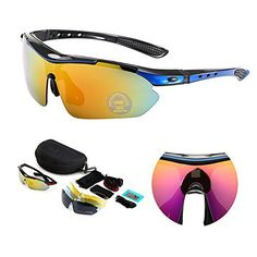 RubySports Men Polarized TR90 Frame Sunglasses UV400 Cycling Eyewear with 5 Interchangable Lenses,Blue/Black Frame  #Cycling #Eyewear #Frame #Interchangable #LensesBlue/Black #POLARIZED #RubySports #Sunglasses #TR90 #UV400 CyclingDuds.com