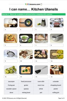 This lesson improves student's vocabulary for 'kitchen utensils'. It contains a picture matching exercise and flashcards.#TeachEnglish #LearnEnglish #TESOL #TESL #TEFL #ELT #ESL #EFL #TeachingEnglish #TEFLtimesavers #EnglishHandouts #EnglishWorksheets #TEFLlessonPlans #ELL #Kitchen UtensilsEnglish Esl Lessons, Online Lessons, English Lessons, Learn English, English Class, Kitchen Utensils Worksheet, Vocabulary Worksheets, Free Worksheets, English Vocabulary