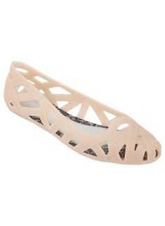 Nude color woven jelly ballet flats. These breezy flats are made from textured pvc and have slip-resistant rubber sole. Melissa Shoes are made from a patented recyclable MELFLEX plastic that is hypo-allergenic, water resistant and environmentally friendly by Melissa Plastic Shoes and Sandals, $105.00 #giftsforher #melissashoes