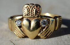 ESTATE 14K YELLOW GOLD DIAMOND CLADDAGH RING-585-SIZE 9.75 IRELAND-IRISH-.09CTW