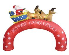 Christmas Inflatable Santa Claus on Sleigh Reindeer Archway Yard Decoration Prop