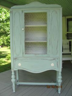 Annie Sloan Duck Egg Blue & Old White antique china cabinet reloved by Sassy Chic Cottage