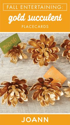 For the perfect finishing touch on your Thanksgiving or Friendsgiving table, add these Gold Succulent Name Cards! Thanks to a fun and simple project tutorial from JOANN, this fall craft couldn't be easier to make. Outdoor Christmas Decorations, Fall Decorations, Christmas Crafts, Xmas, Christmas Ornaments, Paper Flower Art, Flower Crafts, Paper Flowers, Fall Halloween