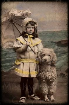 vintage photo DIGITAL  Girl and Poodle on the beach