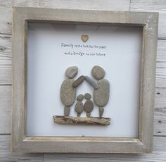 Pebble art family frame, gifts for a family, Christmas gifts ideas, family portrait, new home gift, gifts for mom, happy holidays gift, wood by CoastalPebblesShop on Etsy