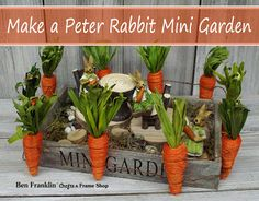 Make a Peter Rabbit themed Mini Garden! Created by Ben Franklin Crafts and Frame Shop in Bonney Lake, WA.