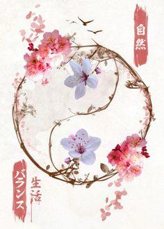 kanji cherry blossoms flowers nature chinese japanese yinyang yin yang balance life bird inspiration Paintings