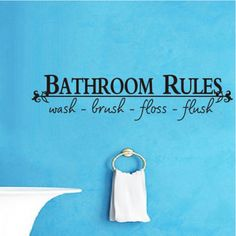 Bathroom-Rules-English-Quote-Saying-Vinyl-Wall-Art-Decals-Stickers-Home-Decor
