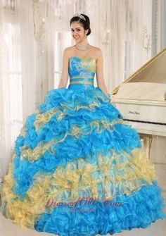 Stylish Multi-color 2015 Quinceanera Dress Ruffles With Appliques Sweetheart In Neuqun