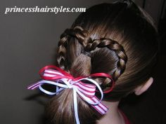 Easy braided heart ponytail hairstyle