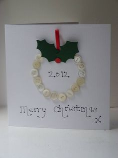 personalised button christmas card by kitty's   notonthehighstreet.com