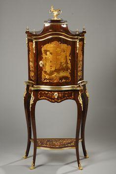 Napoleon III lady's cabinet inlaid rosewood veneer and ormolu mounts