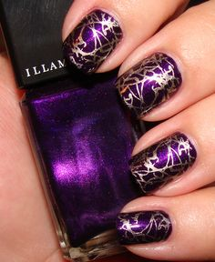 purple and metallic gold nail design