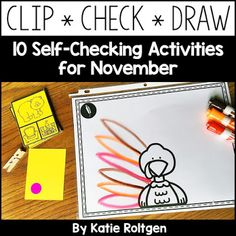 Clip, Check, Draw: Self-Checking Activities for November | Use this pack of 10 sets of clip-and-check cards to work on various skills wit your Kindergarten students all November. Topics include 2D and 3D shapes, missing numbers, counting ten frames, counting fall objects, first sound isolation, rhyming, syllables, short A CVC words, and letter matching. Great for independent learning, early or fast finishers, small group work, partners, & more! (Kindy, kinder)