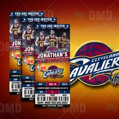 "2.5x6"" Cleveland Cavaliers Sports Party Invitation, Sports Tickets Invites, Basketball Birthday Theme Party by sportsinvites"