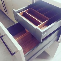 Getting organised with these Hettich drawer accessories fitted out in the showroom! We love the timber look! Kitchen Ideas, Kitchen Design, Building Renovation, Joinery, Getting Organized, Wood Grain, Showroom, Drawers, Interiors