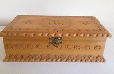 Interesting Vintage Wood Box. Ornate Wood  by VintageUKSouth