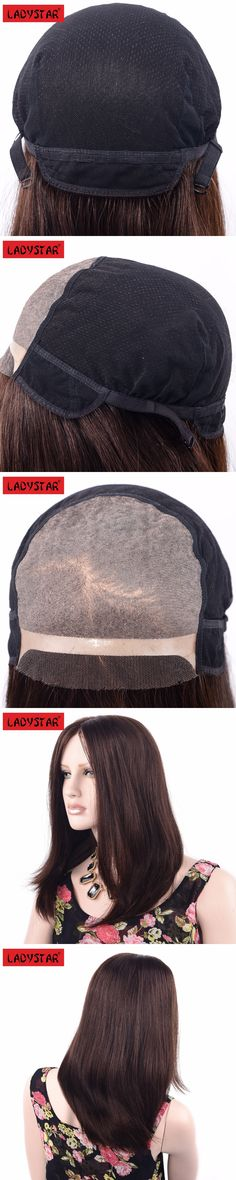 LADYSTAR Remy Human Hair Brazilian Silk Straight Wigs For White Women 12 Inch by Hand Made Double Lace Wig for White Women