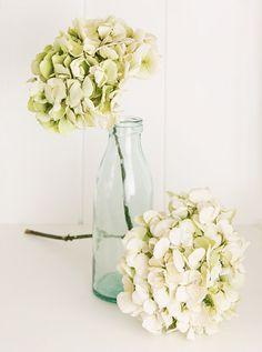 Gedroogde hortensia's passen mooi in een landelijk en romantisch interieur.