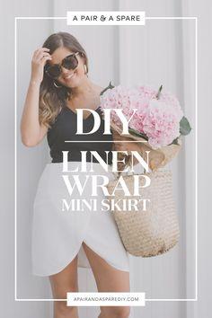 DIY Linen Wrap Mini Skirt