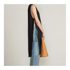 SIMON MILLER W517 MAKA Japanese linen dress and S803 Pine bag in tanned French leather,