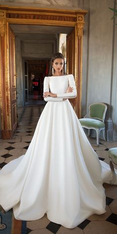 Slash neck, button sleeve wedding dress