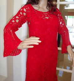Exclusive One Of A Kind Crochet Fashion Trends Red by LolasWonders Womens Cocktail Dresses, Crochet Fashion, Women's Clothing, Clothes For Women, Trending Outfits, Unique Jewelry, Handmade Gifts, Fashion Trends, Etsy