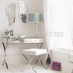 MR-401005 modern mirrored vanity set with stainless steel legs