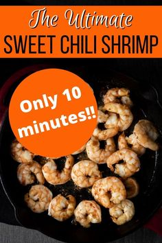This Sweet Chili Shrimp has only 4 ingredients, and is on the table in under 15 minutes! The shrimp are juicy with the perfect combination of sweet & spicy! This sweet and spicy shrimp could not be easier to make and is perfect for those busy weeknights. Sweet Chili Shrimp Recipe, Sweet And Spicy Shrimp, Pasta Dinner Recipes, Shrimp Recipes, Healthy Weeknight Meals, Easy Meals, Spicy Chili, Budget Meals, 4 Ingredients