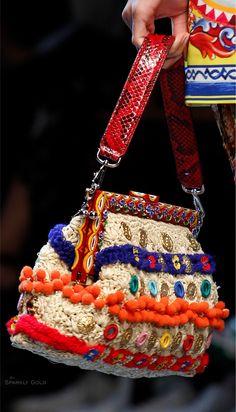 Dolce & Gabbana Spring 2016 - Raffia, pom pom & button bag.