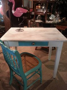 Bon Turquoise Desk, Coastal Cottage, Coastal Decor, Panama City Beach, Solid  Oak, Turquoise Office, Beach Houses, Turquoise Table