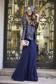 Leather jackets will make the perfect match to any dress, whether it be for a cocktail party or black tie ball! Arielle Nachami is oozing elegance in this floor length gown, and worn with this super cute leather jacket the look simply has it...