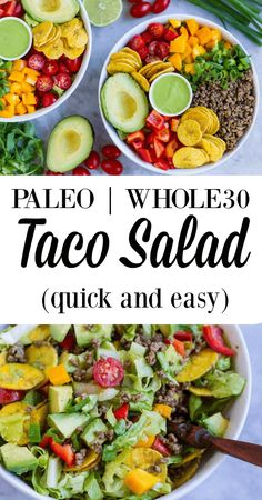 quick and easy taco salad that can be thrown together in less than 15 minutes. Gluten and grain free.A quick and easy taco salad that can be thrown together in less than 15 minutes. Gluten and grain free. Whole 30 Diet, Paleo Whole 30, Whole 30 Salads, Paleo To Go, Whole 30 Snacks, Whole 30 Lunch, Salades Taco, Whole Food Recipes, Healthy Recipes