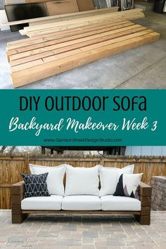 DIY Outdoor Sofa | ©️GarrisonStreetDesignStudio | Outdoor Furniture | DIY | Wood | Rustic | Modern | Easy | Ideas | Cushions | Cheap | Comfortable | On a Budget | Lounge | Restoration Hardware Aspen Collection|Knockoff | Patio | Porch | Deck | Couch | Build |Stain | Seating | Timbers | Lumber | Chunky | Backyard | Yard | Luxury | Affordable | Comfy | Railroad Ties | One Room Challenge | Bench | Patio Furniture | Summer | Outdoor Living | Outdoor Oasis | Outdoor Spaces