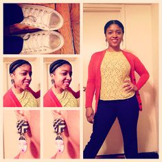 Sunny days. ☀️☀️☀️ #ootd #style #color #blocking #texture #cardigan #workflow #converse #gold #lace #slimpant #fashion #mycloset #red #yellow #purple earrings from @inivibez !!!!