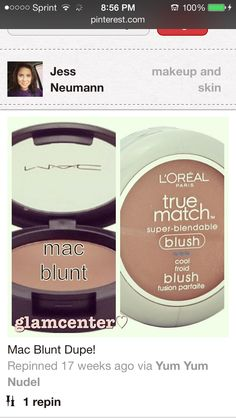 Mac dupes! This is Blunt by Mac and I use this true match blush to contour