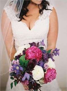 purple and pink bridal bouquet. I love the idea of darker flowers. Bridal Bouquet Pink, Purple Wedding Flowers, Floral Wedding, Wedding Bouquets, Wedding Dresses, Purple Tulips, Cute Wedding Ideas, Wedding Inspiration, Casual Wedding