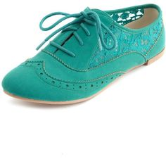 Sheer Lace Inset Nubuck Oxford ($30) ❤ liked on Polyvore