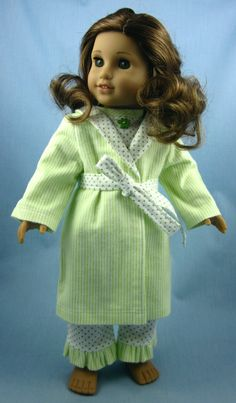 American Girl Doll Clothes  - Flannel Pajama and Robe Set in Green Stripes and Dots. $27.00, via Etsy.