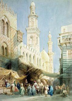 William Henry Bartlett (1809 – 1854) The Sharia El Gohargiyeh, Cairo