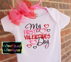 My First Valentines Day Embroidered Shirt or Onesie and Matching Sheer Hair Bow Set for Girls $28