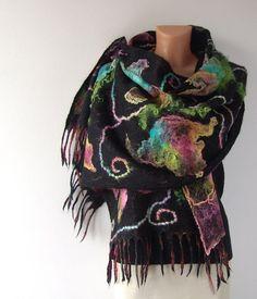 Felted scarf stole Black Rainbow flowers Black under by galafilc, $98.00