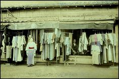 SECOND HAND CLOTHING STORE -- Used Kimonos and Yukata for the Poorer Classes and Country Folk in OLD JAPAN