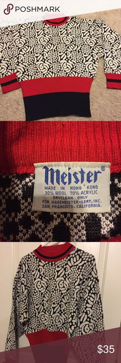 Women's Meister ski sweater pullover Large Beautiful pullover ski sweater by Meister. Made for Hagemeister-Lert, Inc in San Francisco, CA. Size Large. Sweater has bands of red and black at bottom  of sweater and at neck. Crewneck. Slouchy fit as it is tighter at the bottom. This may be vintage as I cannot find anything else like it online. THis tag is the same as tags on vintage 1980's Meister sweaters I have found. Sweater is made of 30% wool 70% acrylic. Excellent used condition. No signs…