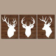 DEER Wall Art CANVAS or Prints Country Nursery DEER Baby Boy Nursery Boy Bedroom Wall Art Set of 3 Rustic Decor Wood Effect
